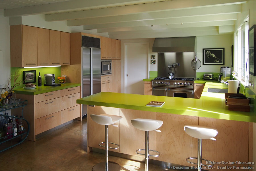 Kitchen Bar Stools Sitting in Style : kitchen cabinets modern light wood 070a dkl003 green countertop peninsula stools from www.kitchen-design-ideas.org size 900 x 600 jpeg 94kB