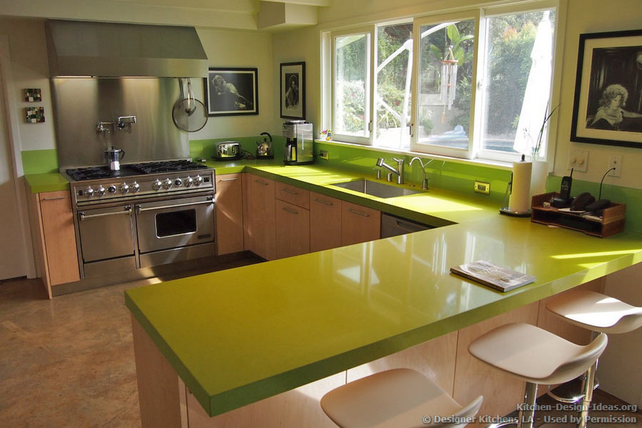 Green Quartz Countertop, Pro Range Hood   Designer Kitchens LA