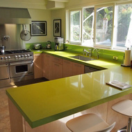 Green Quartz Countertop, Pro Range Hood - Designer Kitchens LA