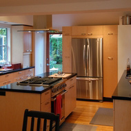 Maple Kitchen with Island Range & Hood - Designer Kitchens LA