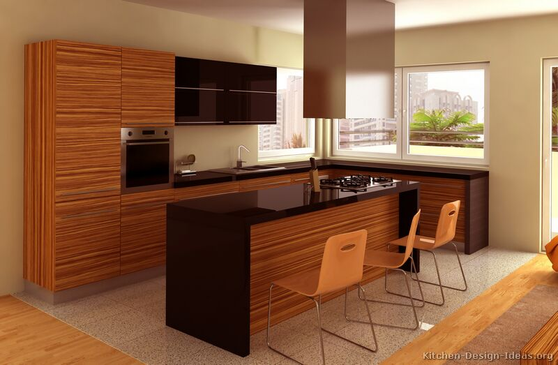 Pictures of kitchens modern medium wood kitchen for Planos de cocinas modernas