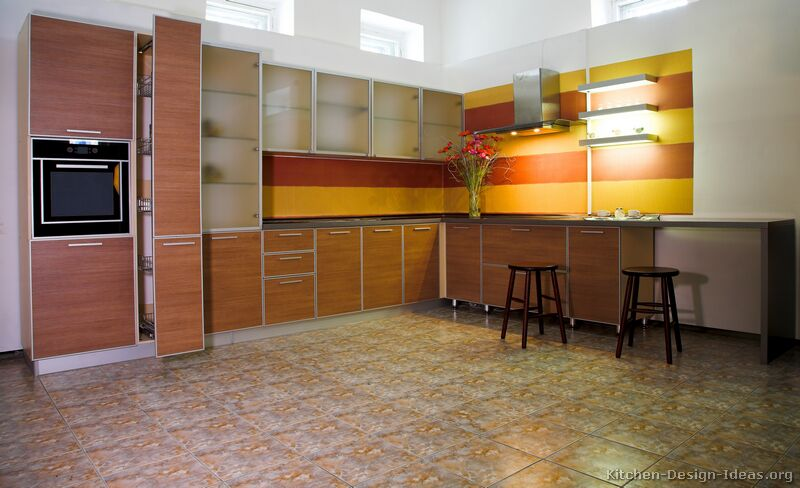 Red kitchen cabinets with yellow walls Orange and yellow kitchen ideas