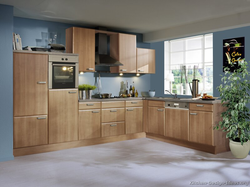 Blue Kitchen Oak Cabinets Quicua
