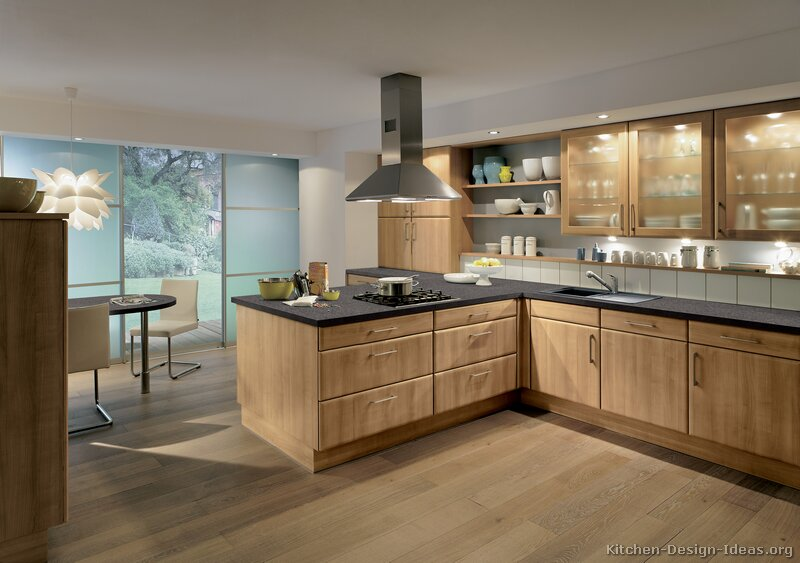Modern Wood Kitchen Cabinets ~ Pictures of kitchens modern medium wood kitchen cabinets