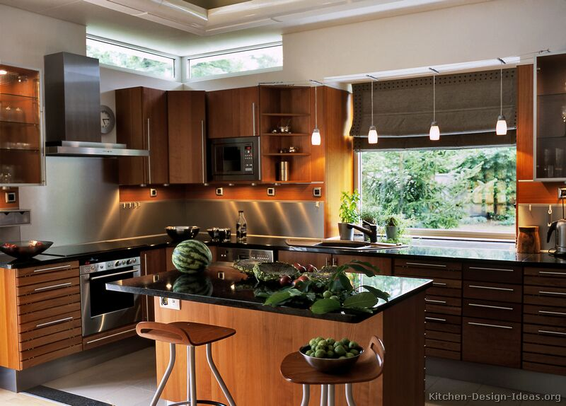 Pictures of kitchens modern medium wood kitchen cabinets - Modern kitchen ideas with brown kitchen cabinets ...