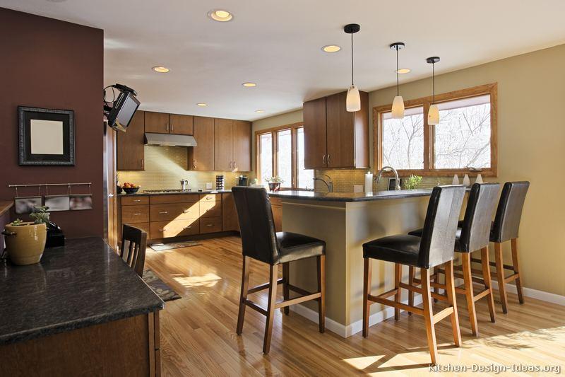 Pictures of kitchens modern medium wood kitchen - Kitchen peninsula designs with seating ...