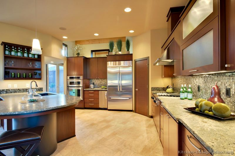 Pictures of kitchens modern medium wood kitchen for Corner kitchen pantry ideas