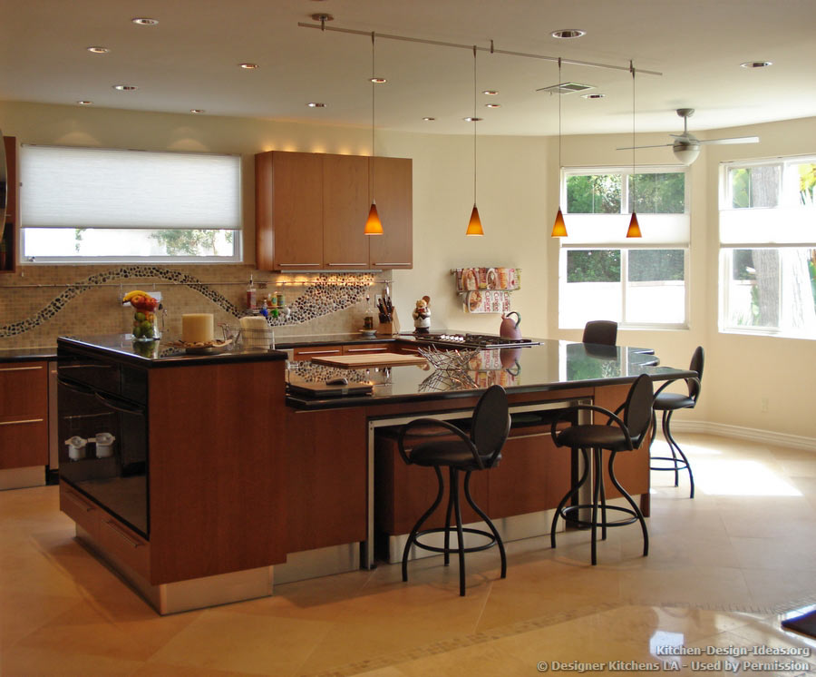Cherry Cabinets, Pendant Lights, Bi Level Island   Designer Kitchens LA