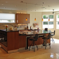 Cherry Cabinets, Pendant Lights, Bi-Level Island - Designer Kitchens LA