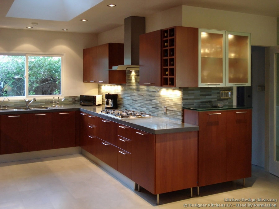 Tile Backsplash Ideas For Cherry Wood Cabinets