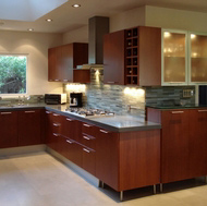 Modern Cherry Kitchen, Glass Tile Backsplash - Designer Kitchens LA