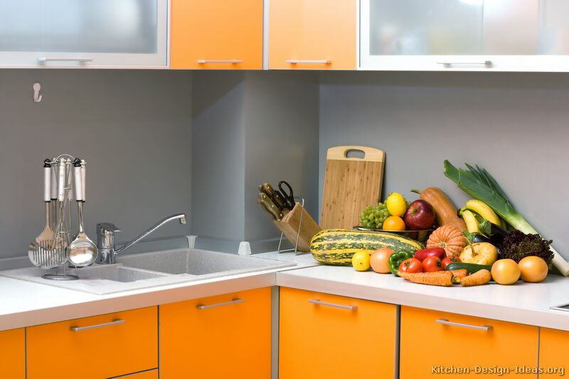 Contemporary Orange Kitchen Cabinets Designs Home