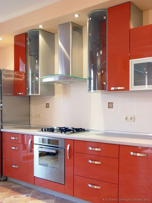 Orange Kitchens With White Cabinets