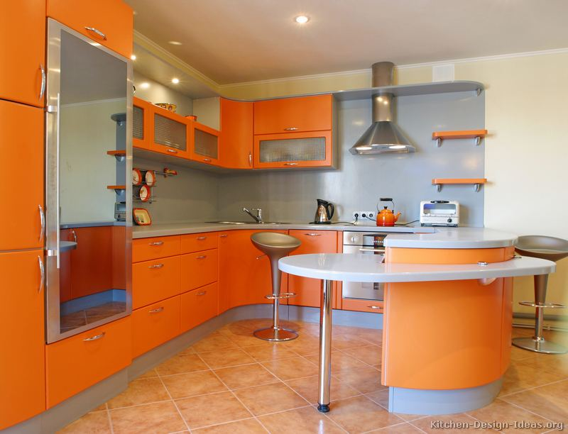 Pictures of kitchens modern orange kitchens kitchen 7 Kitchen colour design tips