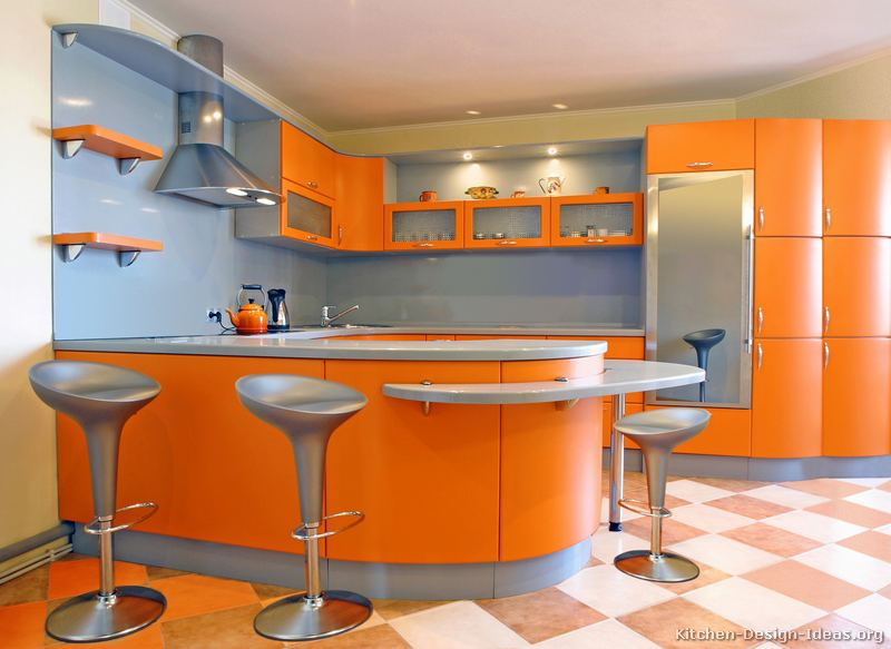 A Modern Orange Kitchen with Curved Cabinets