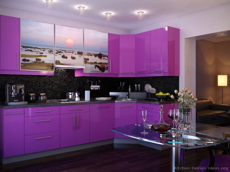 Pictures of modern purple kitchens design ideas gallery for Contemporary kitchen colours