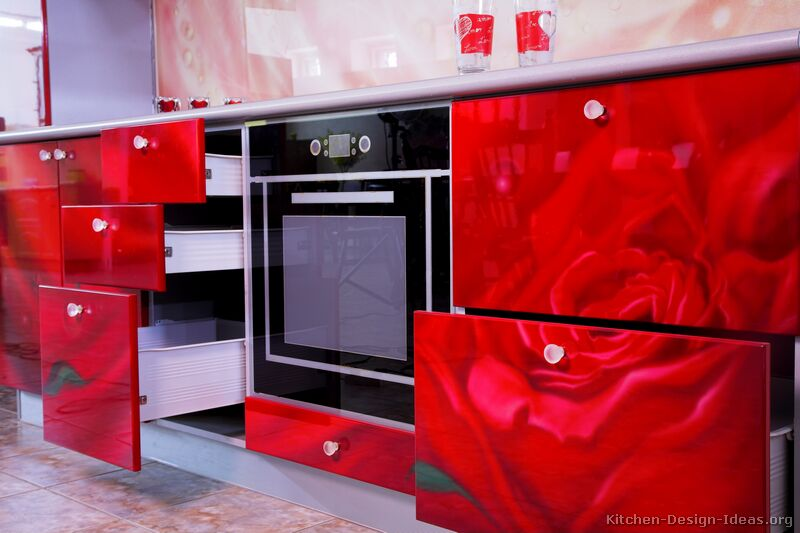 pictures of kitchens - modern - red kitchen cabinets (kitchen #1)