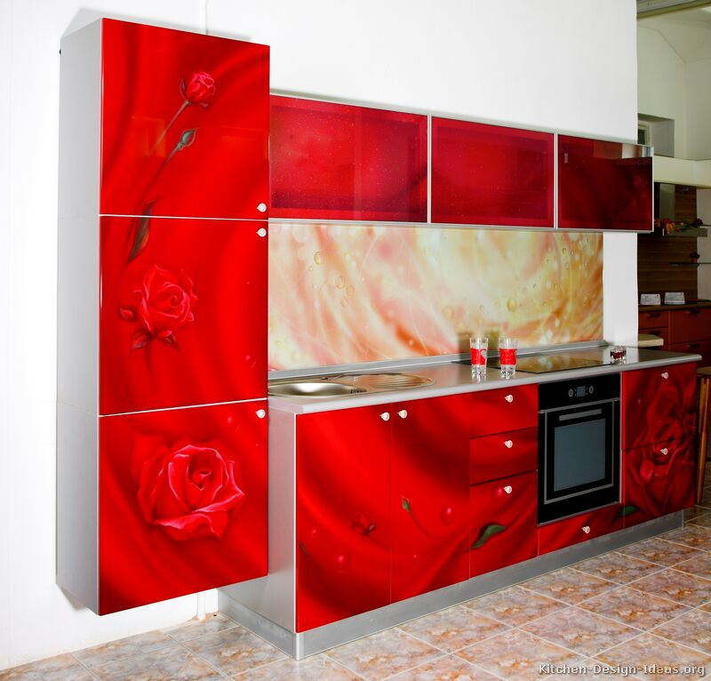 Modern Red Kitchen & Pictures of Kitchens - Modern - Red Kitchen Cabinets