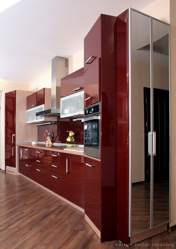 Pictures of kitchens modern red kitchen cabinets for Modern kitchen units designs