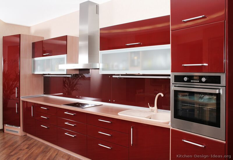 Pictures of kitchens modern red kitchen cabinets for Kitchen cabinet trends 2018 combined with papier imprime