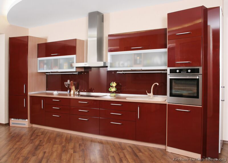 Pictures of kitchens modern red kitchen cabinets for Modern kitchen cabinets