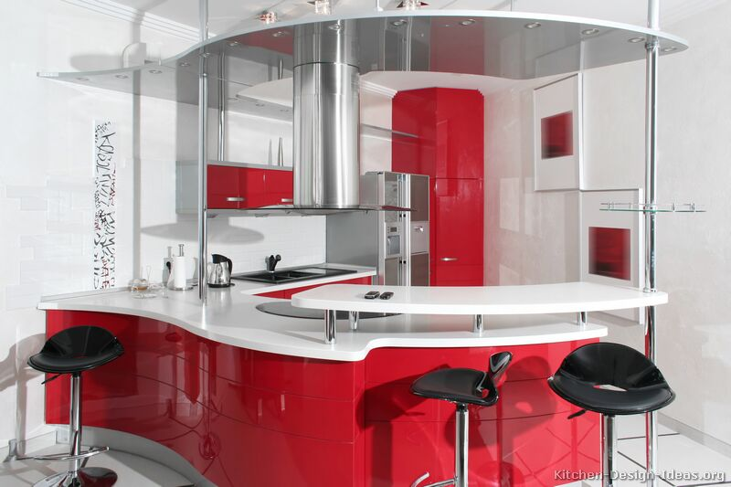 Retro kitchen designs pictures and ideas - White kitchen red accents ...