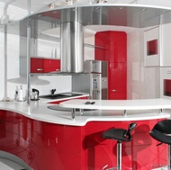 Modern Red Kitchen