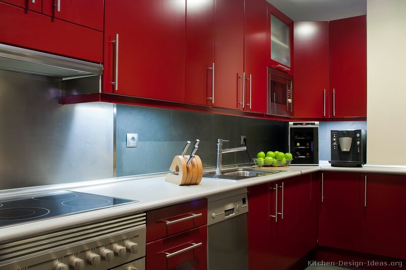 pictures of kitchens - modern - red kitchen cabinets (kitchen #4)
