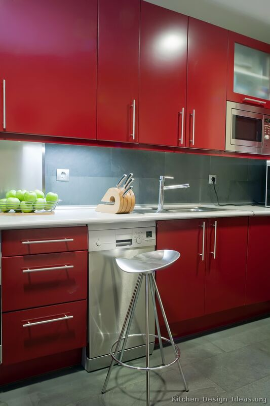 Red Kitchen Cabinets ~ Red kitchen cabinets casual cottage