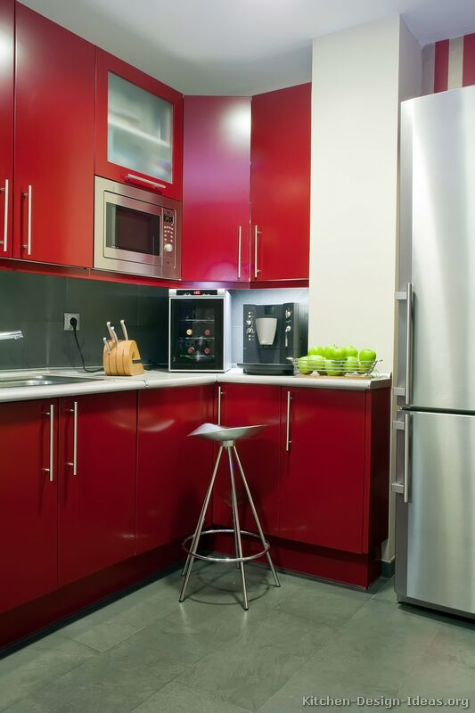 Red Kitchen Cabinets Casual Cottage