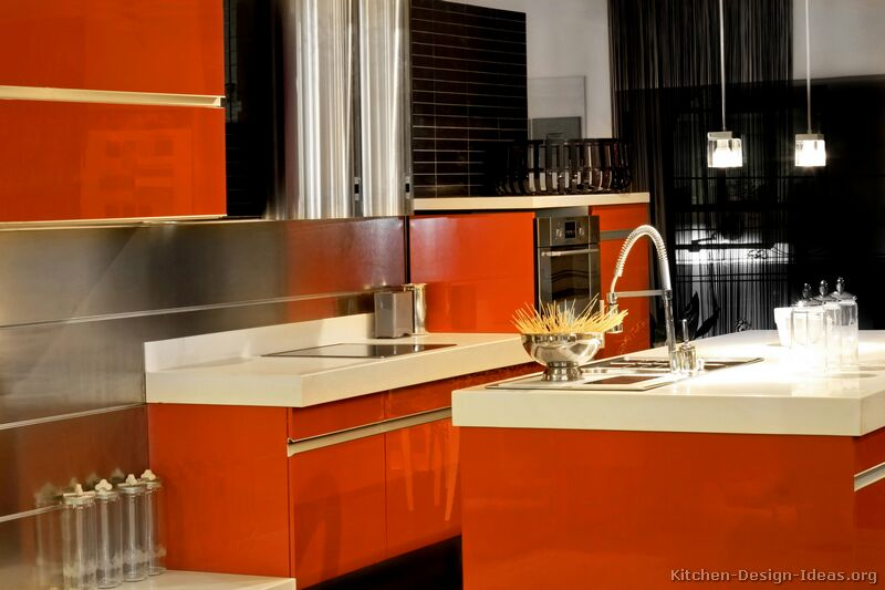 Red Orange+Kitchen Pictures of Kitchens  Modern  Red Kitchen
