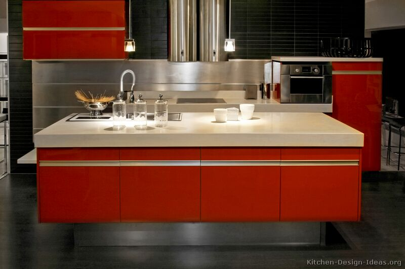 Red Orange Kitchen pictures of kitchens - modern - red kitchen cabinets