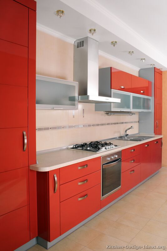 Pictures of kitchens modern red kitchen cabinets for Modern kitchen units