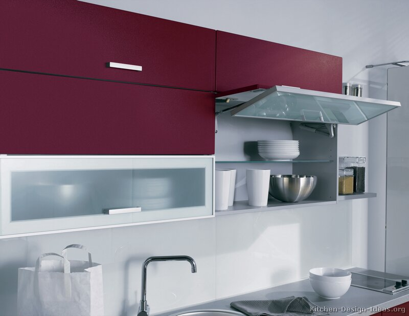 modern red kitchen - Kitchen Wardrobe Designs