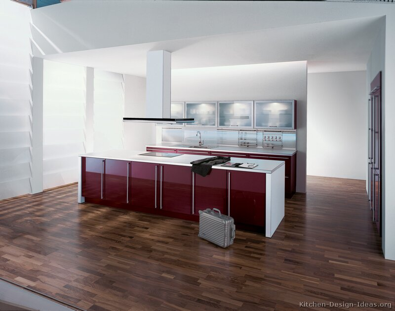 Maroon kitchen island for Burgundy kitchen cabinets pictures