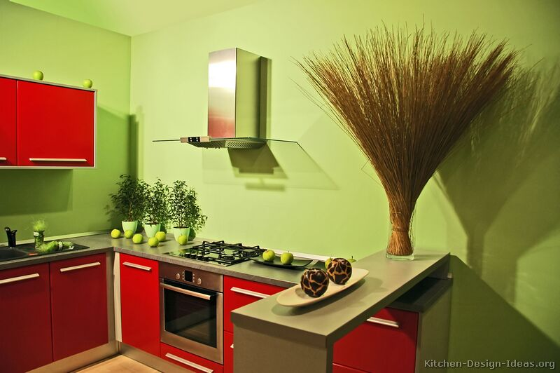 Pictures of kitchens modern red kitchen cabinets for Red wall kitchen ideas