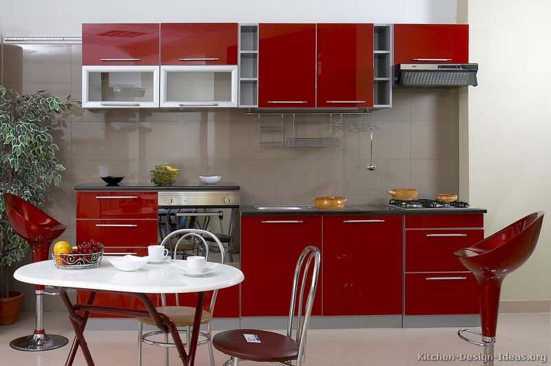 13, Modern Red Kitchen