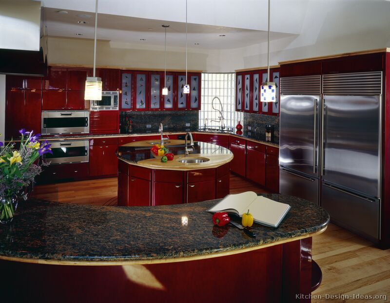 Pictures of kitchens modern red kitchen cabinets for Awesome kitchen design ideas