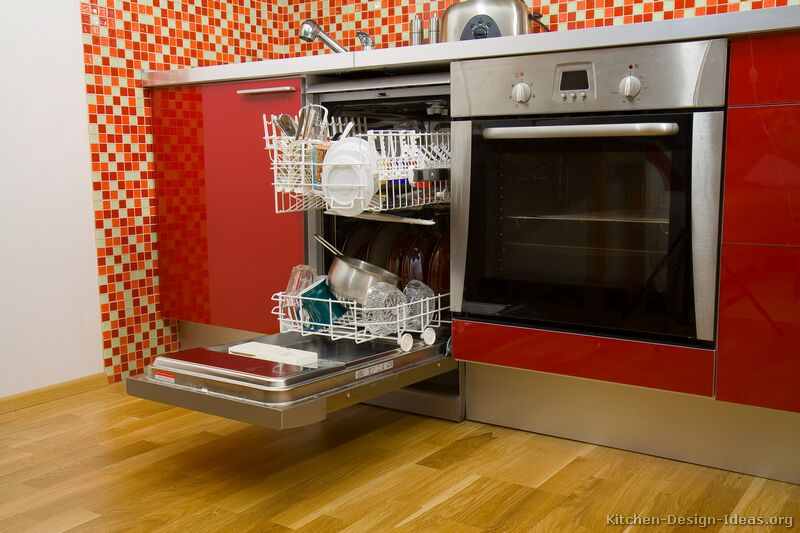 outstanding modern red kitchen | Pictures of Kitchens - Modern - Red Kitchen Cabinets