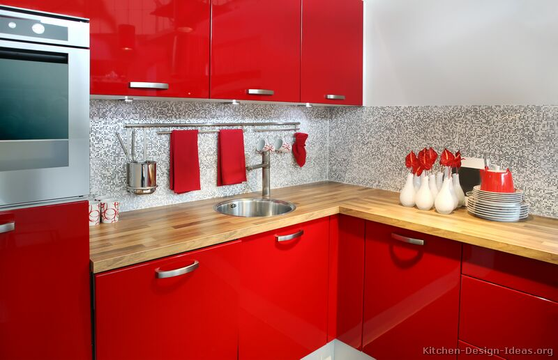 Pictures of kitchens modern red kitchen cabinets for Dark red kitchen cabinets