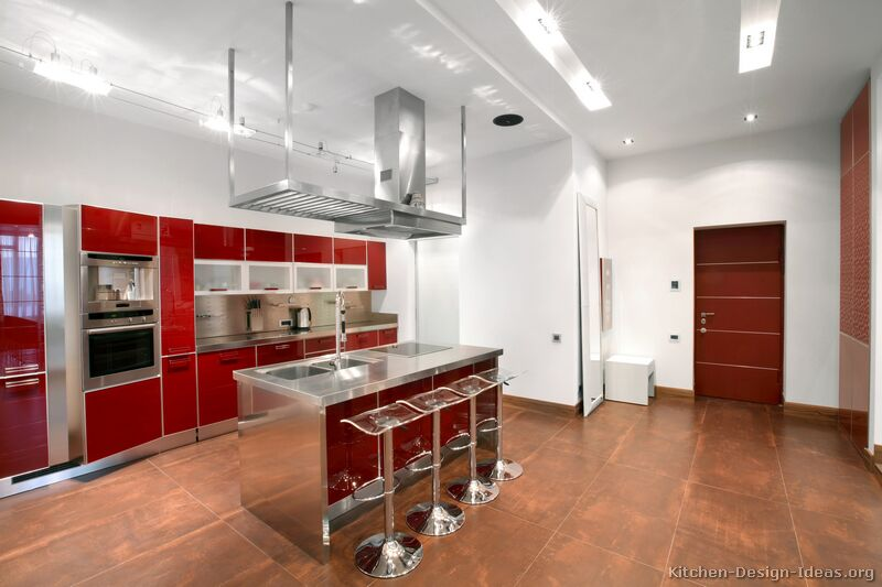 Kitchen Design Ideas Org ~ Pictures of kitchens modern red kitchen cabinets