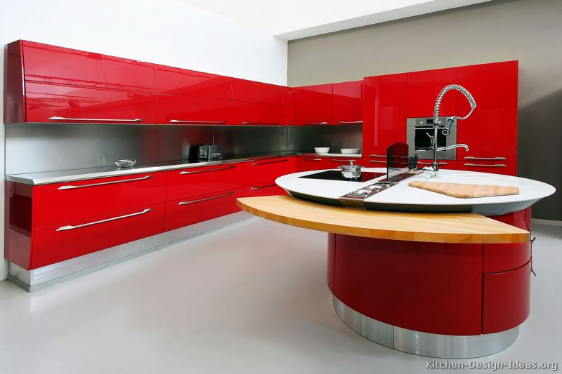 pictures of kitchens - modern - red kitchen cabinets (kitchen #25)