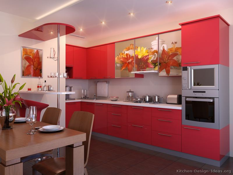 Pictures of kitchens modern red kitchen cabinets for Modern kitchen cabinets for small kitchens