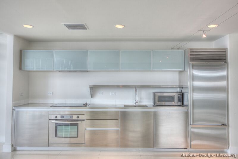 Pictures of kitchens modern stainless steel kitchen for Metal kitchen cabinets