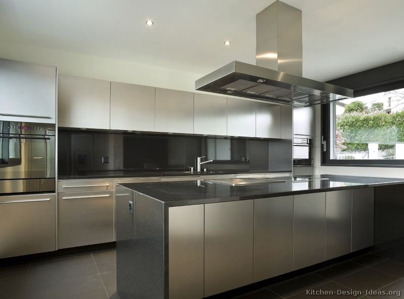 Stainless Steel Kitchen Cabinets with Black Granite Countertops