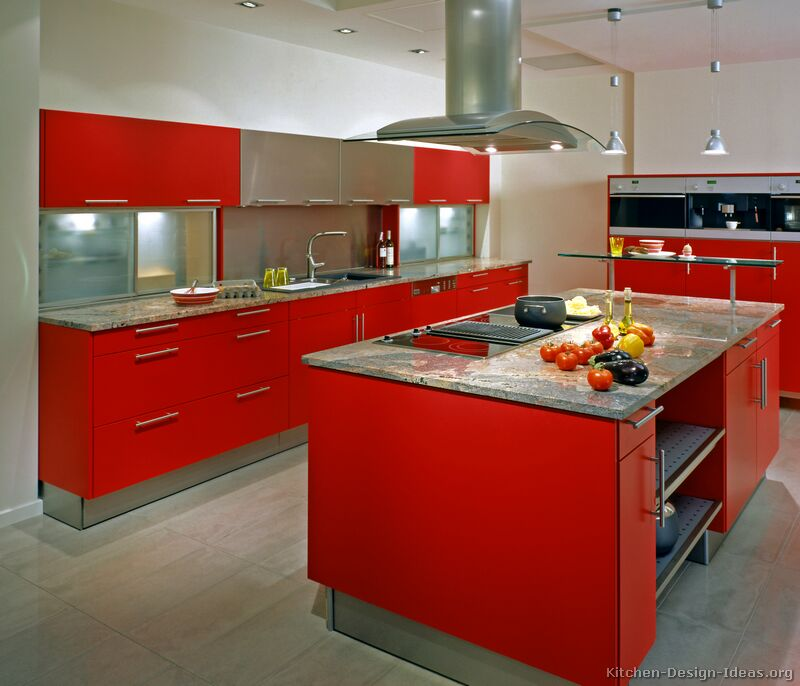 Spanish Kitchen Design Ideas With Red Color Marble ~ Pictures of kitchens modern red kitchen cabinets