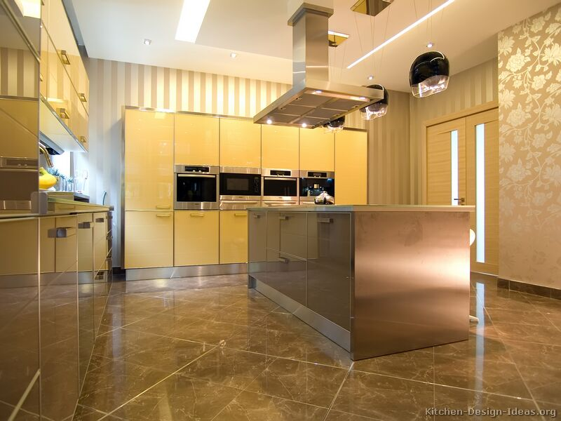 Contemporary kitchen cabinets pictures and design ideas for Yellow brown kitchen ideas