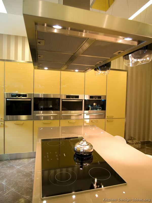 Pictures of kitchens modern two tone kitchen cabinets for Yellow and brown kitchen ideas