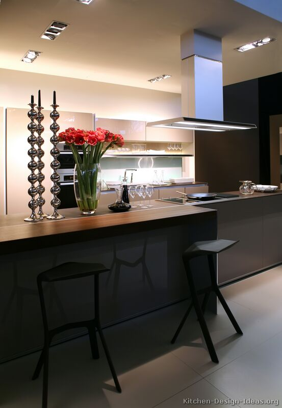 A modern luxury kitchen with an island table for Luxury contemporary kitchens