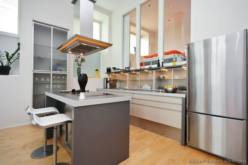 Modern Kitchen Designs With Islands pictures of kitchens - modern - two-tone kitchen cabinets